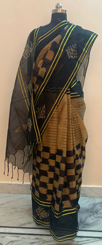 Gold and Black Ikat Hand-Loom Saree Buy Online
