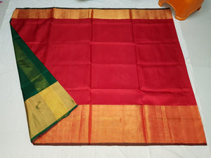 Red Plain Uppada Handloom Pattu Saree with Big Border