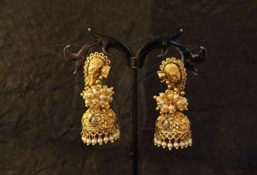Pearl Temple Design Jhumkas
