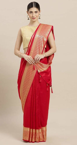 Red Tusser Silk Designer Saree with Blouse
