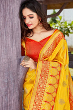 Load image into Gallery viewer, Yellow and Red Soft Silk Pattu Saree Buy Online