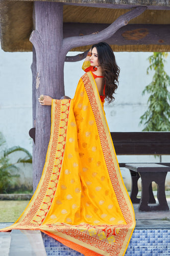Yellow and Red Soft Silk Pattu Saree Buy Online