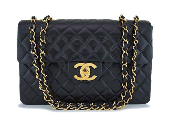 "Chanel Vintage Black Maxi ""Jumbo XL"" Classic Flap Bag 24K Oversized GHW"