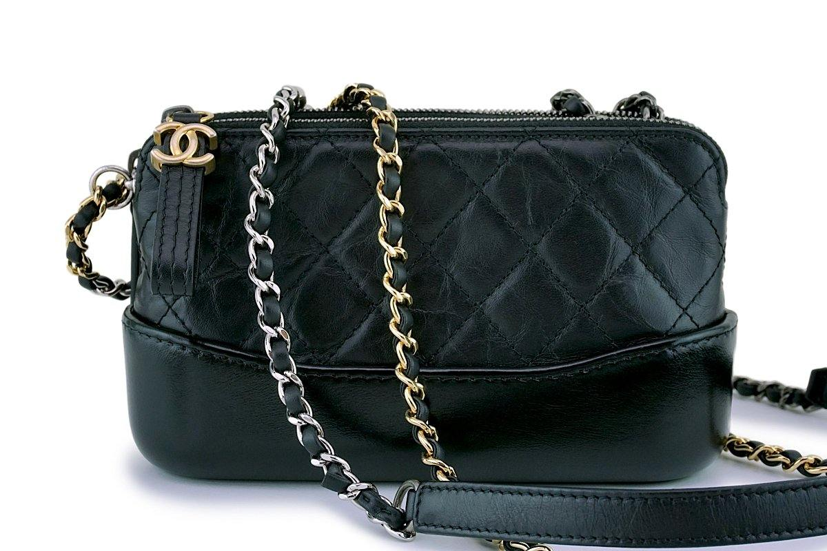 Chanel Black Gabrielle WOC Double Zip Clutch Wallet on Chain Bag