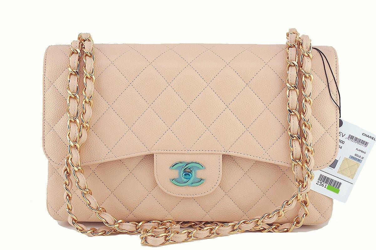 NWT Chanel Beige Clair Caviar Jumbo 2.55 Classic Double Flap Bag