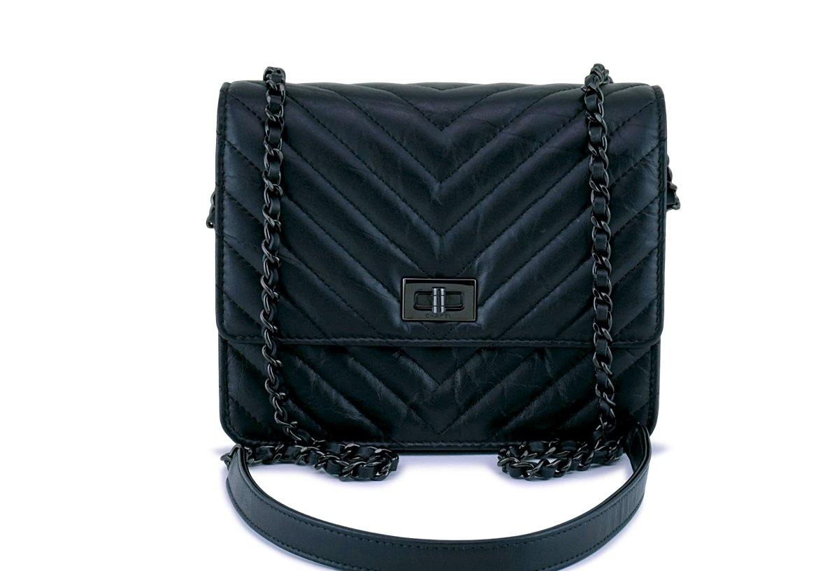 New 17K Chanel So Black Chevron Reissue Square WOC Wallet Chain Flap Bag