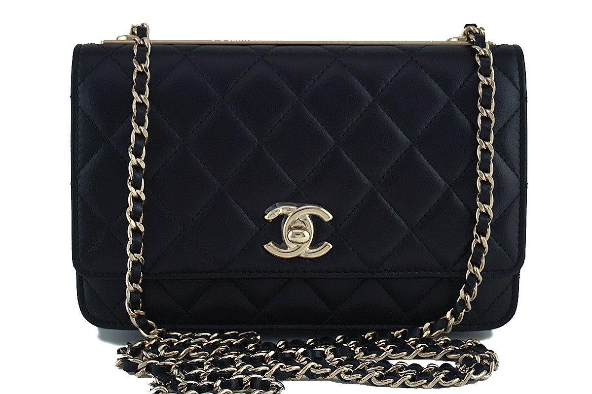 NWT 17A Chanel Black Trendy CC Classic Wallet on Chain WOC Flap Bag