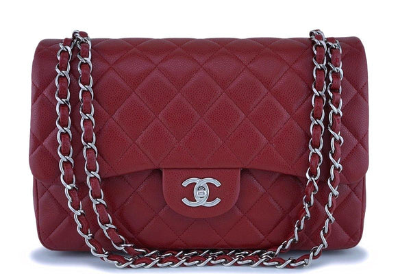 13B Chanel Red Caviar Jumbo Classic Double Flap Bag SHW
