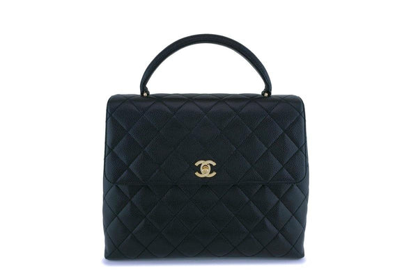 Chanel Black Caviar Classic Kelly Handheld Flap Tote Bag 24k GHW