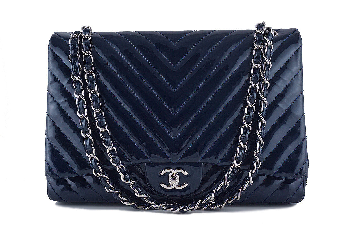 Chanel Chevron Classic Maxi Flap Bag, Navy Blue Patent 2.55
