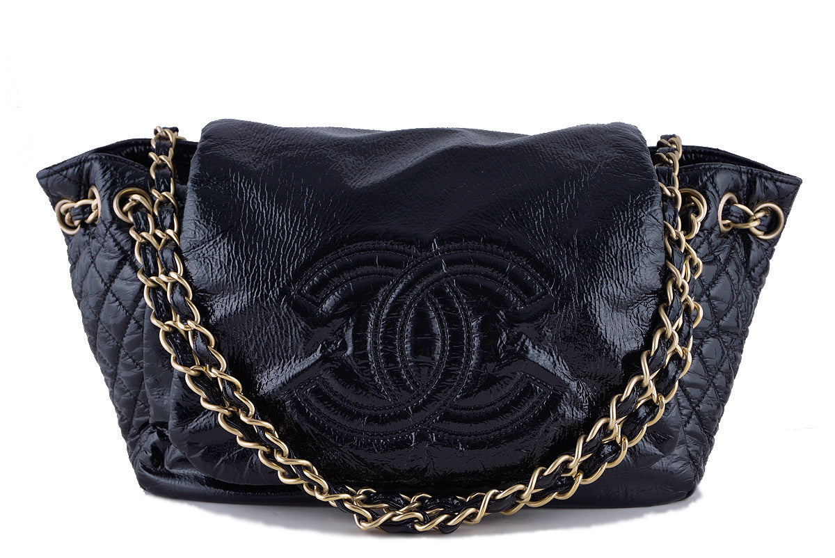 Chanel Black Jumbo Patent Rock & Chain Flap Bag