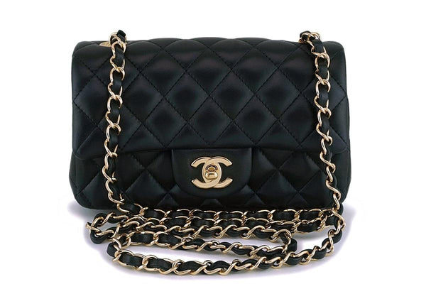f130d61156bb0c Chanel Black Lambskin Rectangular Mini Classic Flap Bag GHW