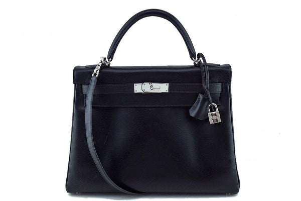 Hermes Black 32cm Box calf Kelly Retourne Bag, PHW