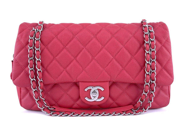 Chanel Rose Pink Caviar Jumbo Classic Easy Flap Bag 62472