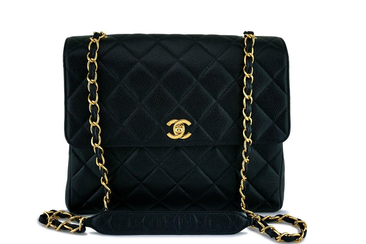 Chanel Black Vintage Caviar Classic Crossbody Flap Bag 24k GHW