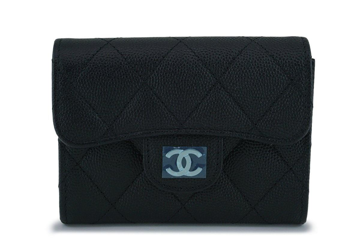 Chanel Black Caviar Medium Flap Card Holder Wallet Case SHW