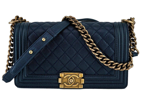 Chanel Navy Blue Le Boy Classic Flap, Medium Caviar Bag