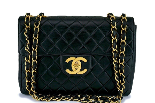 Chanel Black Vintage Jumbo 2.55 Classic Flap Bag 24k GHW