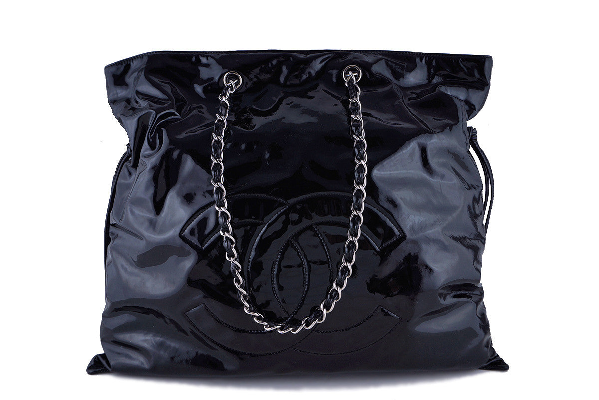 Chanel Black Jumbo Patent Bon Bons Shopper Tote Bag
