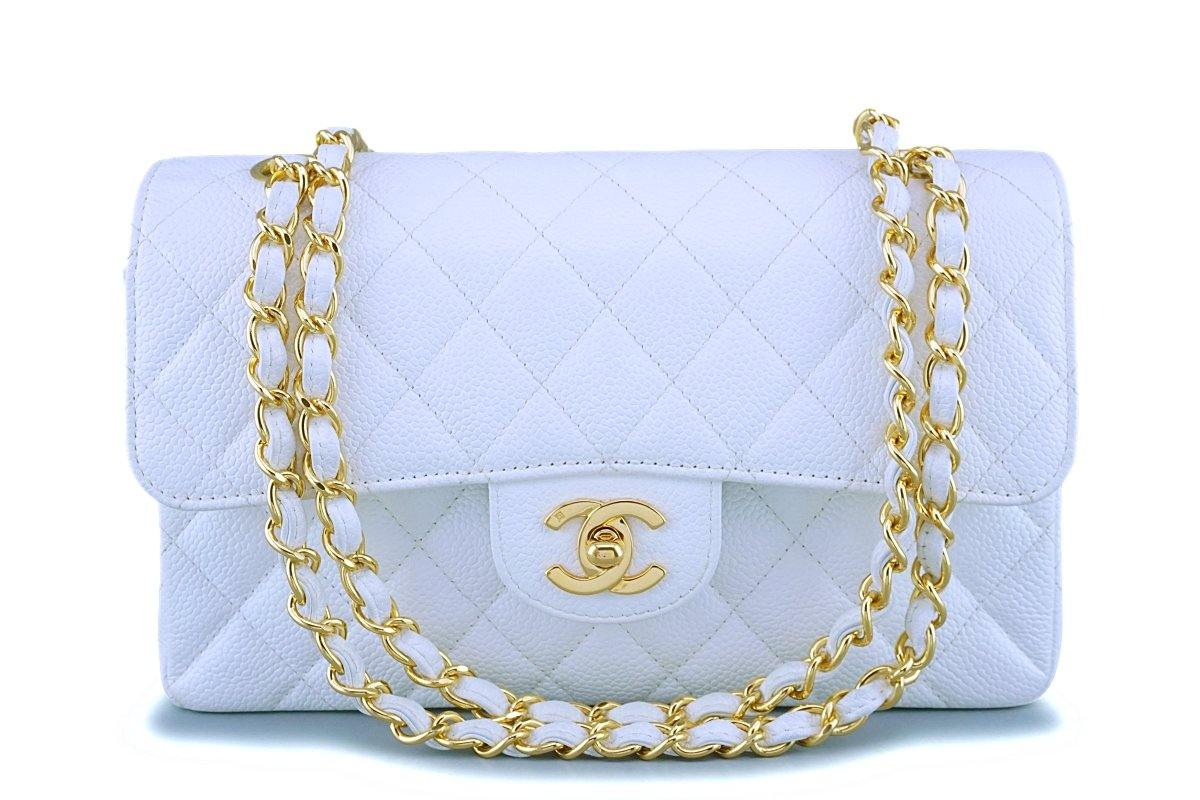 Rare Chanel Vintage White Caviar Small Classic Double Flap Bag 24k GHW