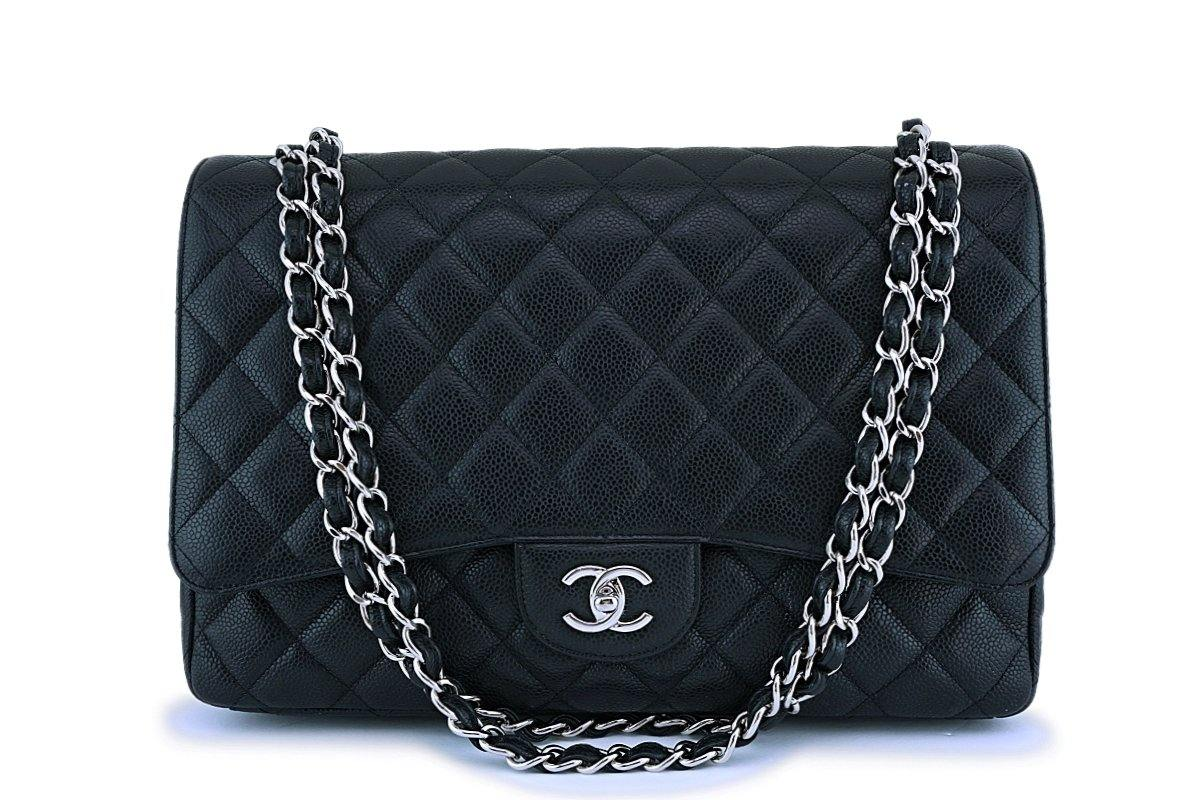 Chanel Black Caviar Maxi Classic Flap Bag SHW