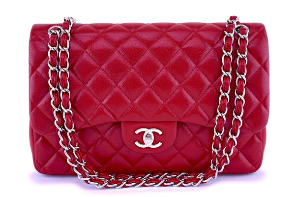 Rare Chanel 12A Red Caviar Classic Jumbo Double Flap Bag SHW
