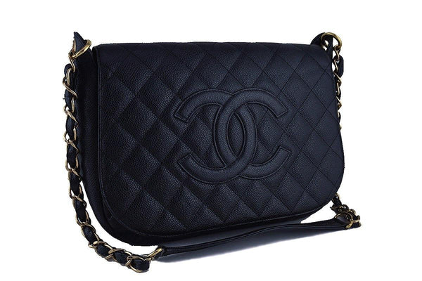 Chanel 12in Black Classic Caviar Quilted Logo Flap GHW Bag