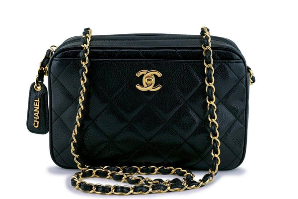 Chanel Vintage Black Caviar Classic Camera Case CC Pocket Bag 24k GHW