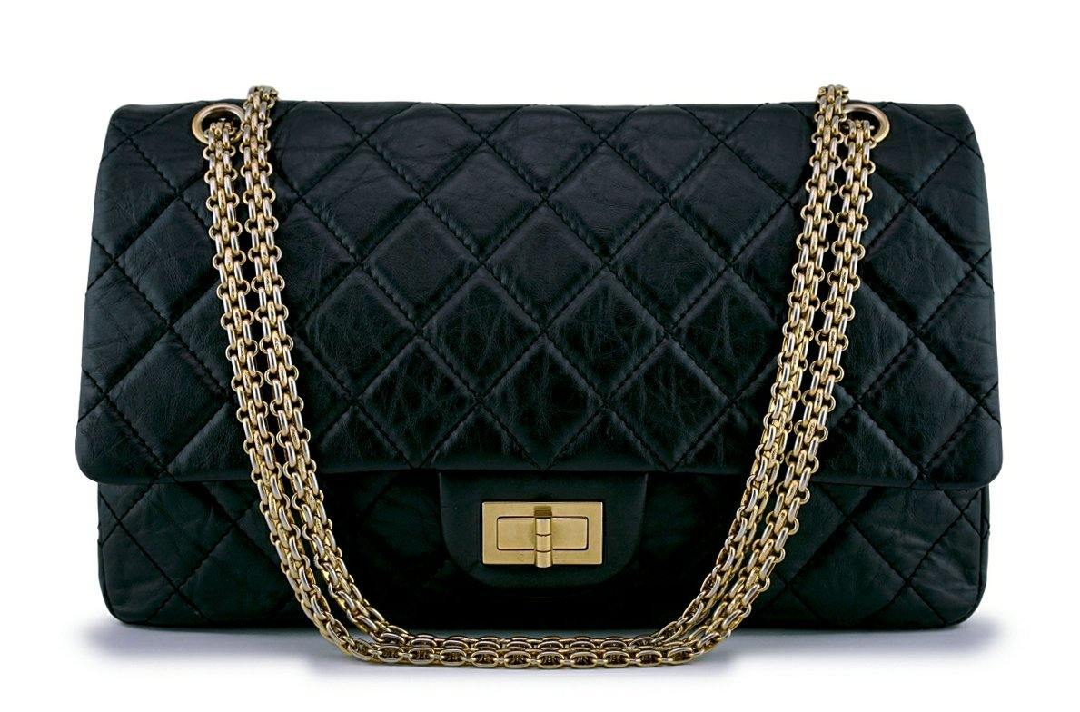 Chanel Black 227 Reissue 2.55 Jumbo Classic Double Flap Bag GHW