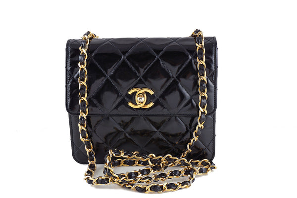 Chanel Black Vintage Patent Tall Mini Flap 2.55 Bag