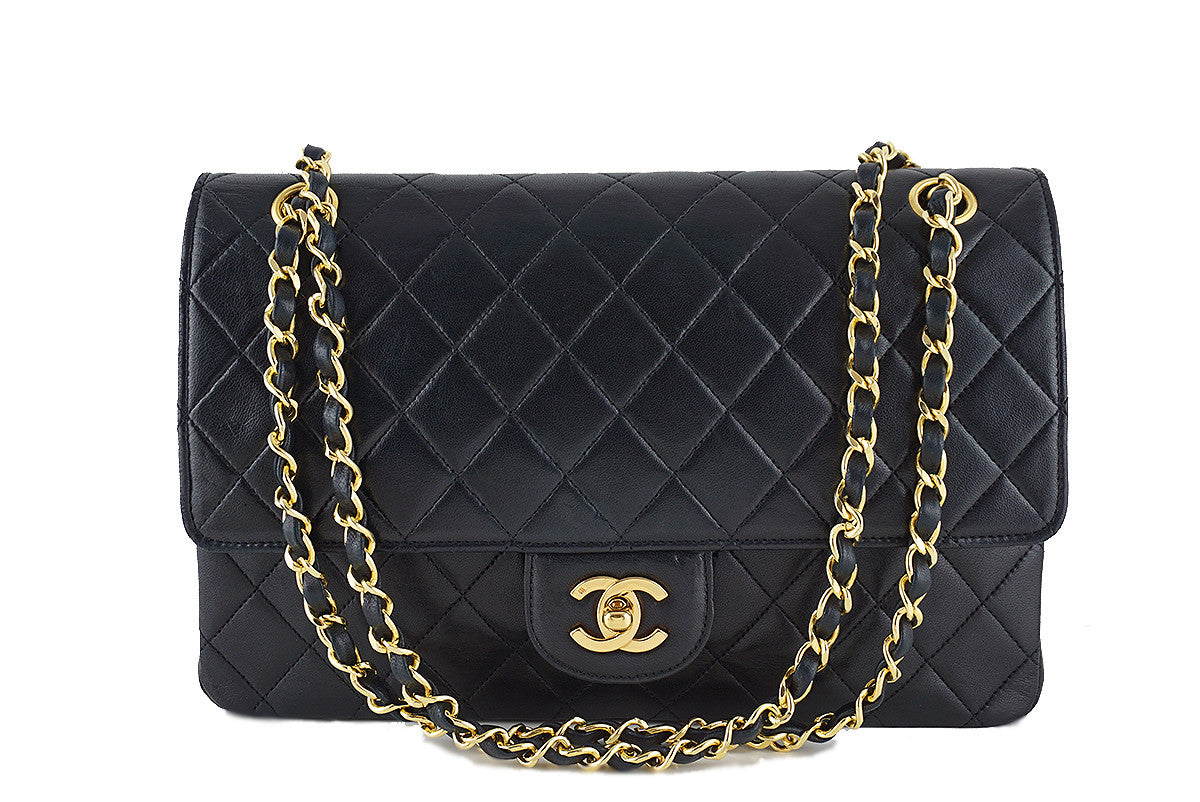 Chanel Black Classic Flap, Lambskin Medium-Large 2.55 Quilted Vintage Bag - Boutique Patina  - 1