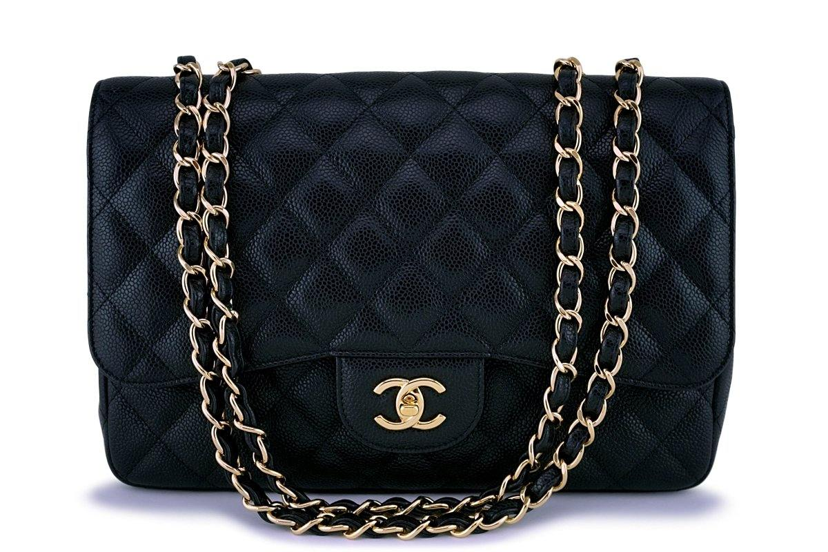 Chanel Black Caviar Jumbo Classic Flap Bag GHW