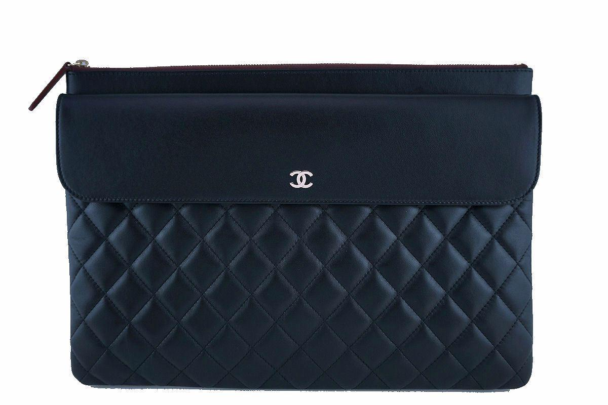 Chanel Black Classic Quilted Large O Case Flap Clutch Purse Bag GHW