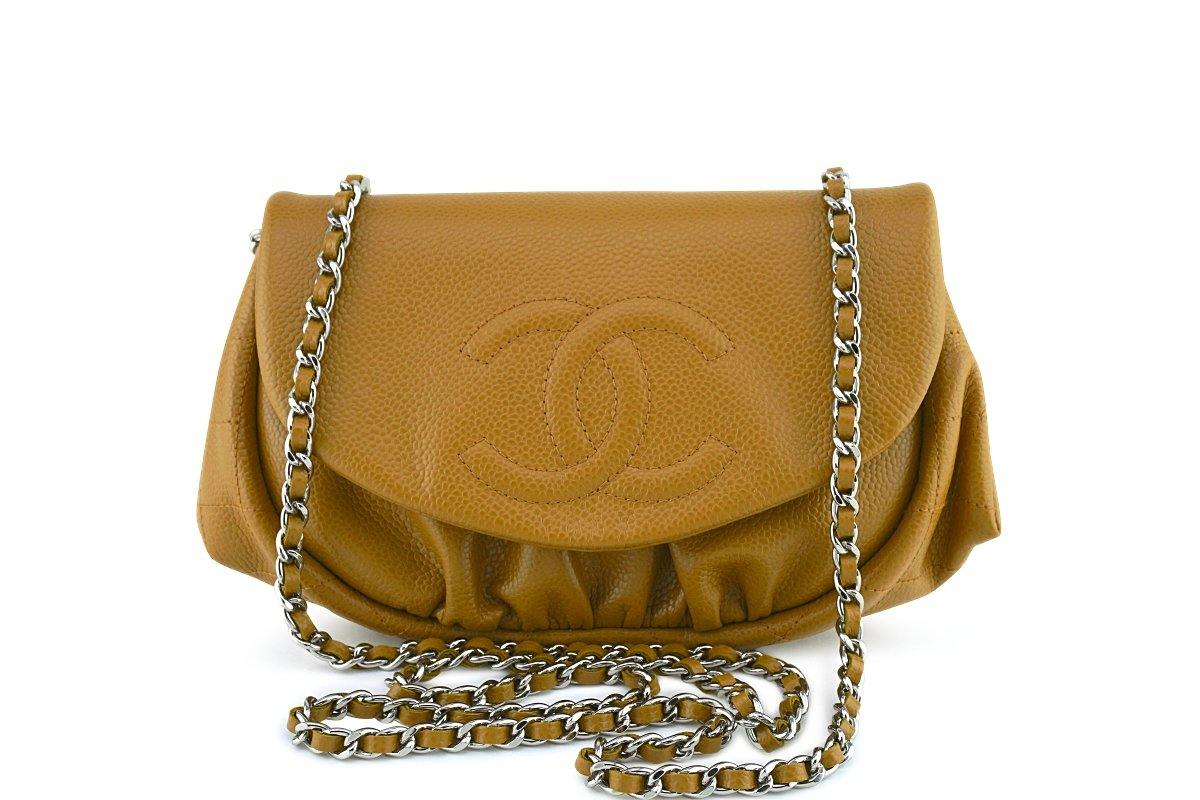 Chanel Jaune Beige Caviar Half Moon WOC Wallet on Chain Purse Bag
