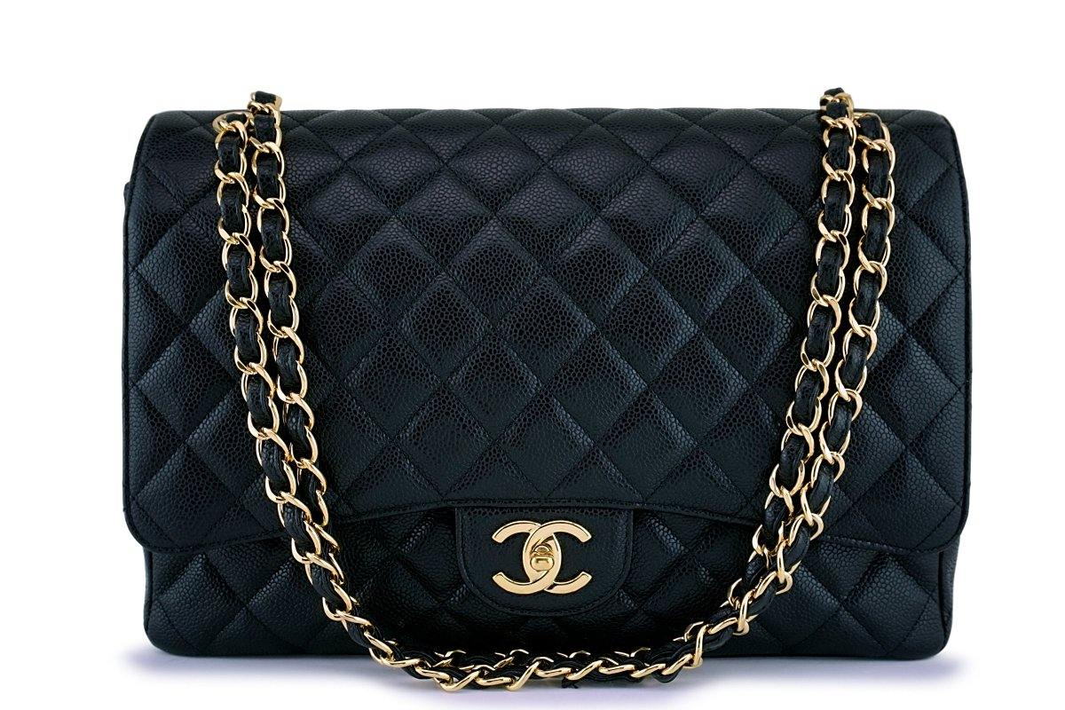 Chanel Black Caviar Maxi Quilted Classic Jumbo XL Double Flap Bag GHW