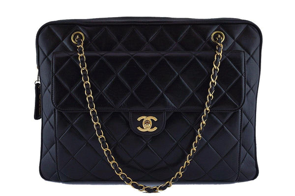 Chanel Rare Black Vintage XL Classic Quilted Flap Camera Case Bag
