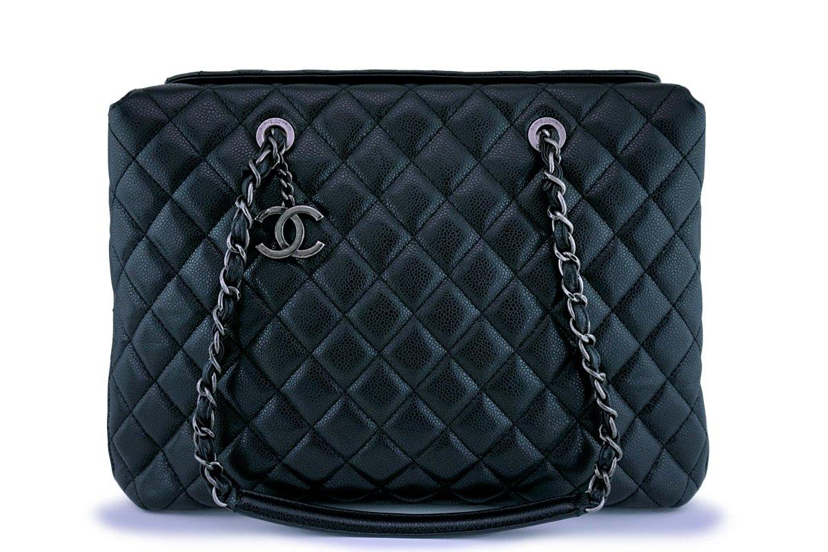 Chanel Black Caviar Classic Quilted Large Business Tote Bag