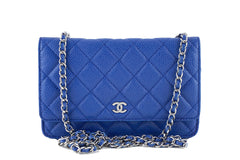 Chanel Caviar Classic WOC Wallet on Chain in Royal Blue Flap Bag - Boutique Patina  - 1