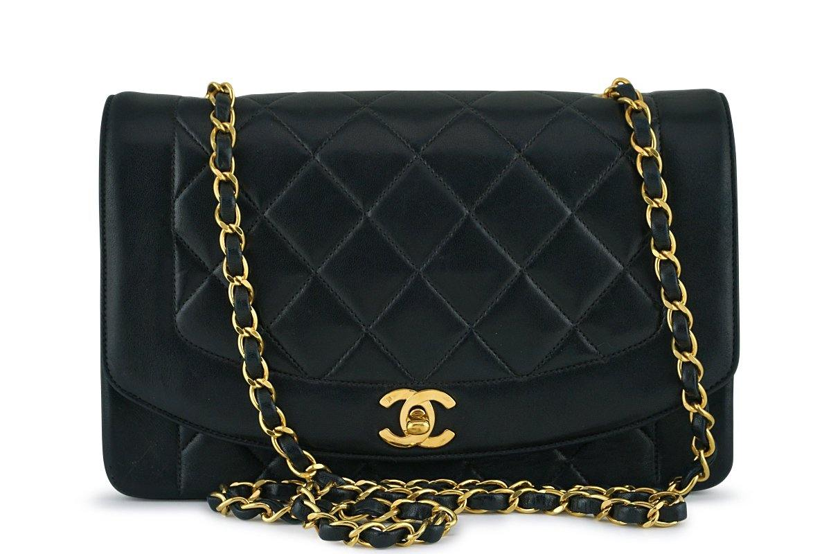 "Chanel Black Vintage Quilted Classic ""Diana"" Shoulder Flap Bag 24k GHW"