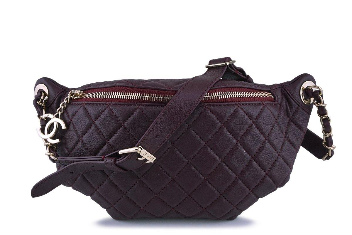be597e3d259d5a NIB 18K Chanel Plum Burgundy Grained Calf Soft Banane Fanny Pack Waist