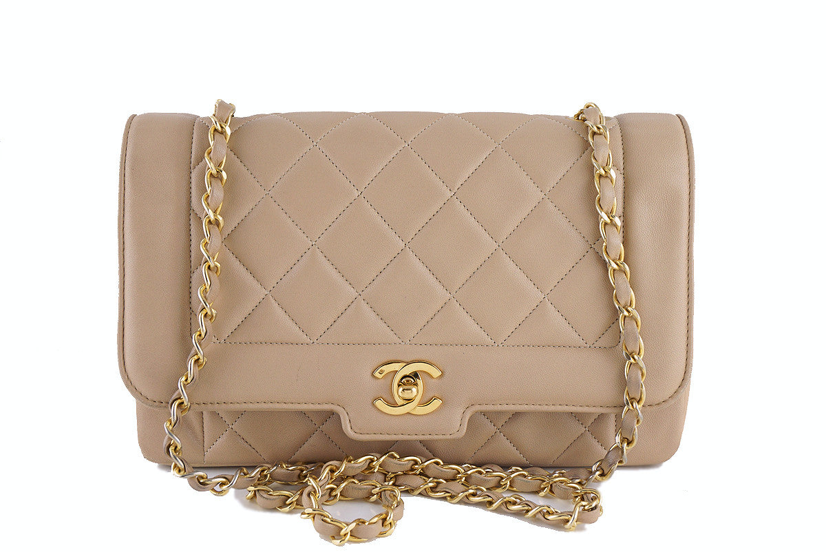 "Chanel Shoulder Flap Bag, Beige Vintage Quilted Classic ""Diana"""