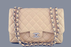 Chanel Beige Clair Caviar Jumbo 2.55 Classic Flap Bag - Boutique Patina  - 1