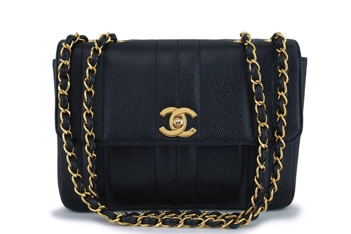 Chanel Vintage Black Caviar Medium Classic Mademoiselle Flap Bag