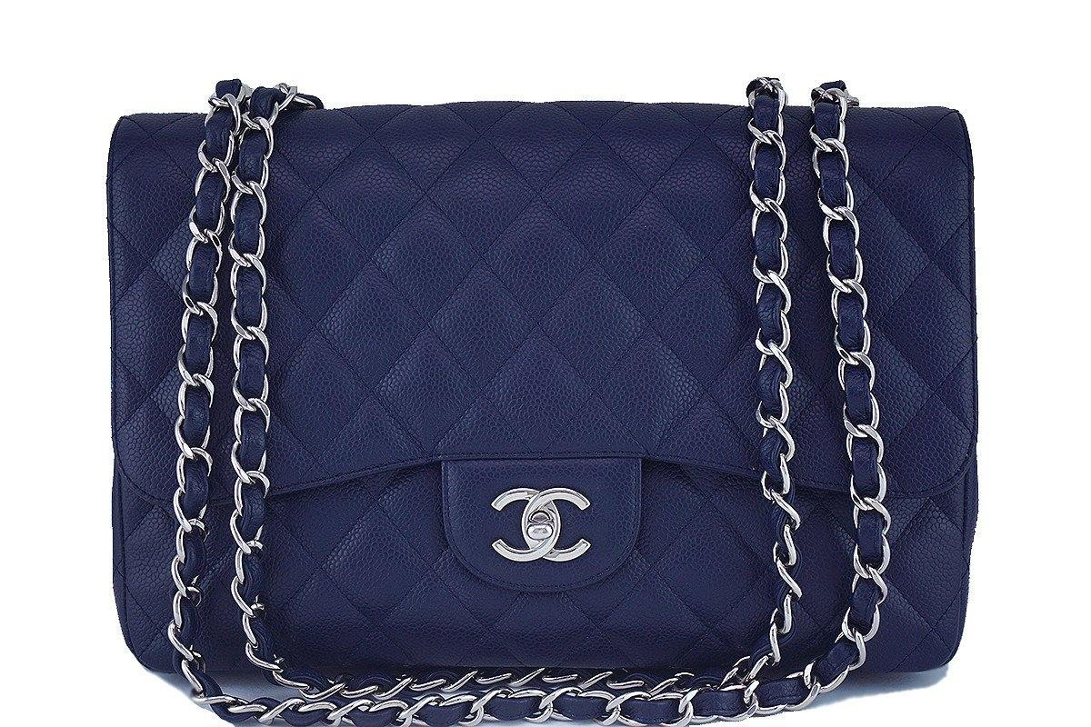 Chanel Navy Blue Caviar Jumbo 2.55 Classic Flap Bag - Boutique Patina  - 1