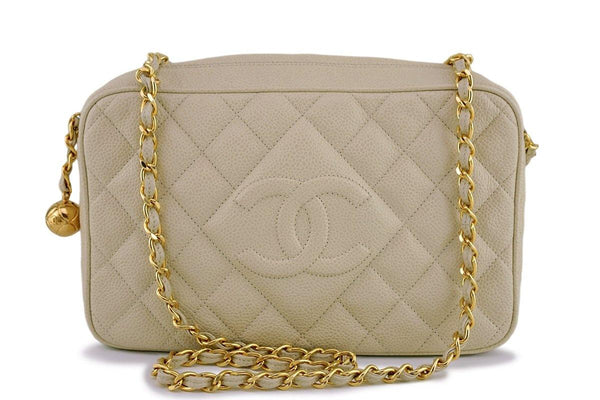 Chanel Vintage Light Beige Caviar Classic Quilted Camera Case Bag