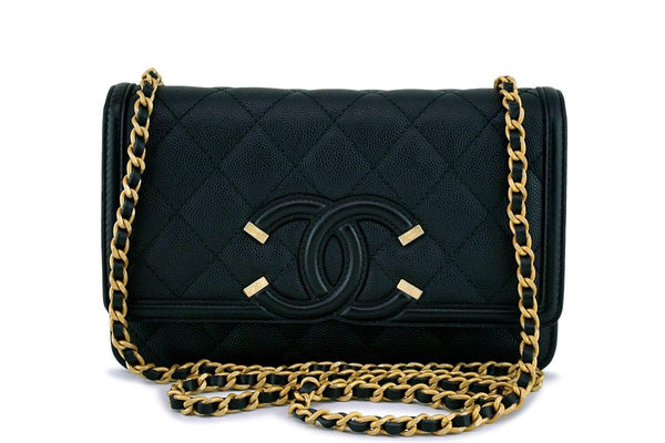 Chanel Black Caviar Filigree WOC Wallet on Chain Flap Bag