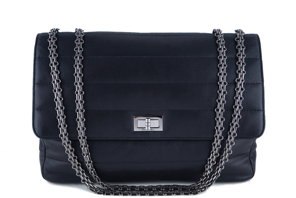 Chanel Black Soft Lambskin Bar-Quilted Classic Jumbo Reissue Flap Bag