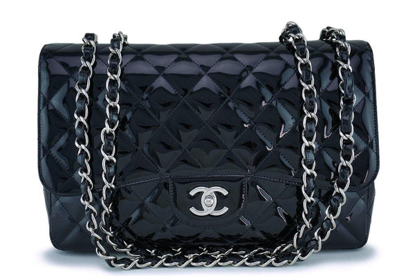 Chanel Black Patent Jumbo Classic Flap Bag SHW
