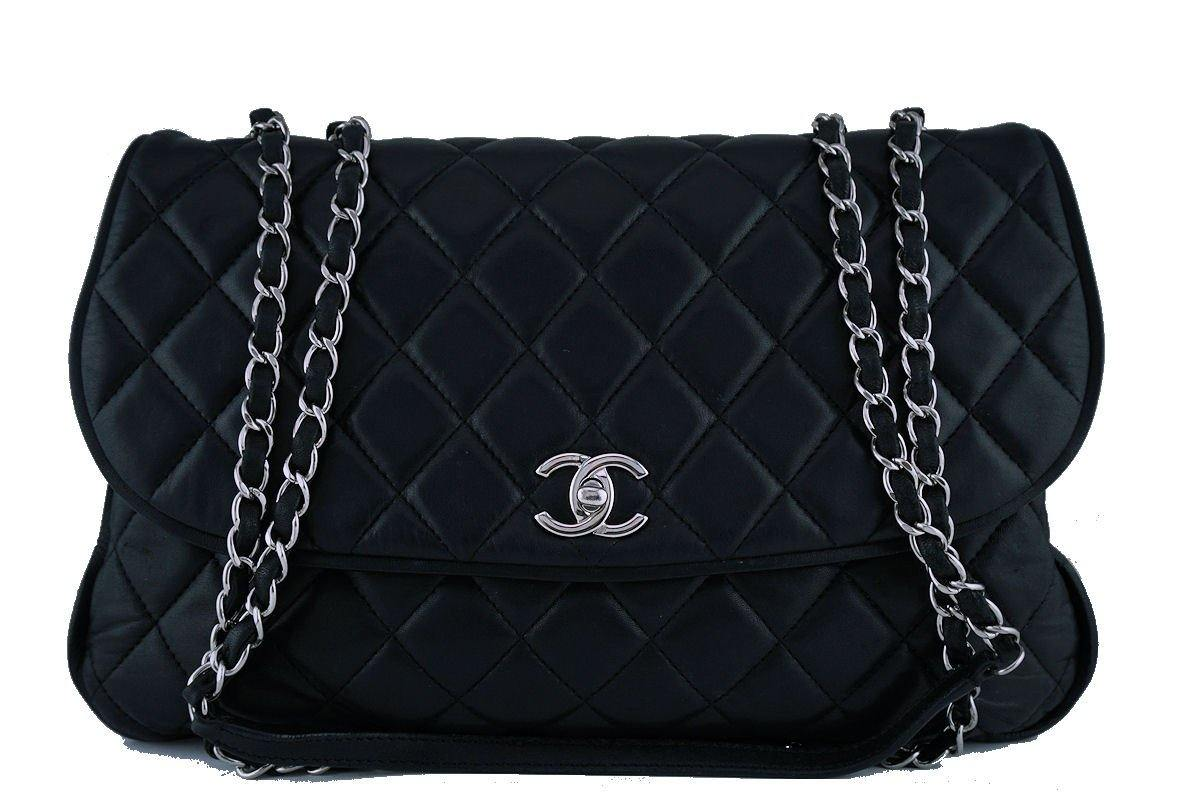 Chanel Black Maxi/Jumbo sized Quilted Soft Classic Messenger Flap Bag