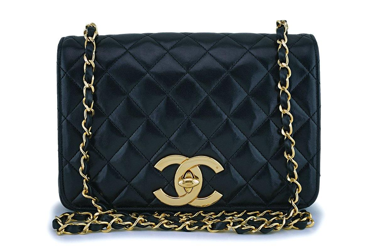 Rare Chanel Vintage Black Lambskin Big CC Small Classic Flap Bag 24k GHW